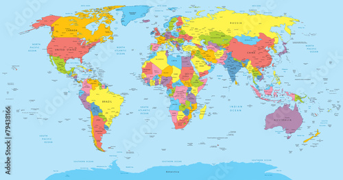 Lerretsbilde World map with countries, country and city names