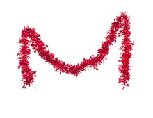 Christmas Red Tinsel With Stars.