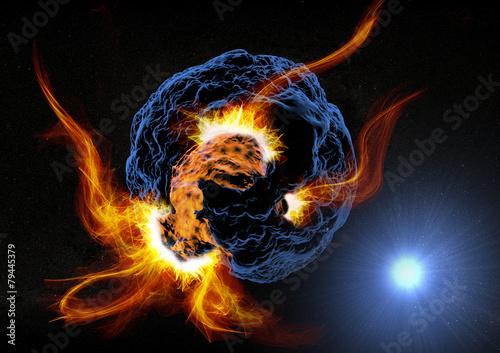 obraz dibond Pianeta asteroide esplosione w Fiamme