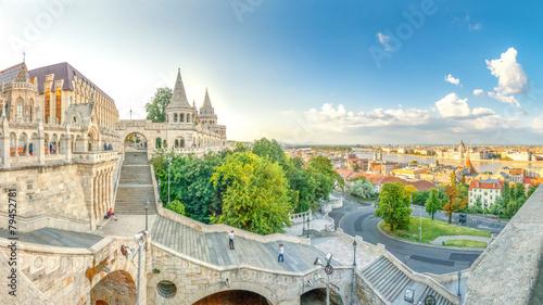 In de dag Boedapest Budapest, Fischerbastei, Panorama über Budapest,