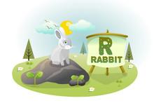 Funny Cartoon Alphabet R With Rabbit