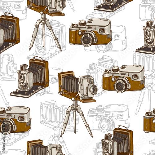 rocznika-bezszwowy-tlo-z-retro-kamera