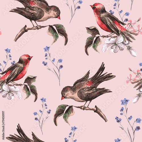 vintage-kwiatowy-bezszwowe-tlo-z-ptakami