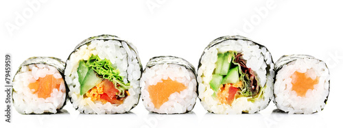 Fototapeta Sushi rolls isolated on white obraz