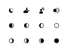 Moon Phases Icons On White Bac...
