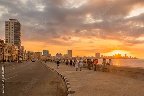 Poster de jardin Havana Beautiful sunset in Havana