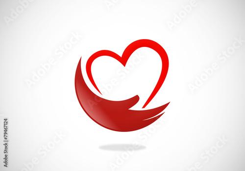 Fotografie, Obraz  love heart hand help abstract vector logo