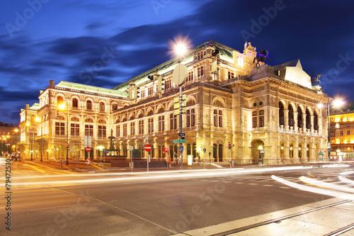 obraz PCV Vienna State Opera House w nocy, Austria
