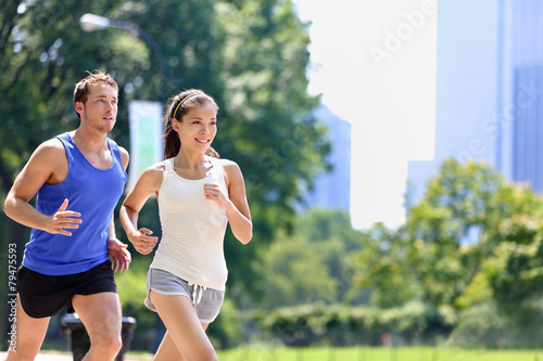 Fotografie, Obraz  Runners jogging in New York City Central Park, USA