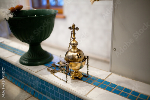 Valokuva  Golden censer in the church