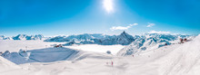 Panorama Of Mountain Range Landscape At Meribel In French Alps.