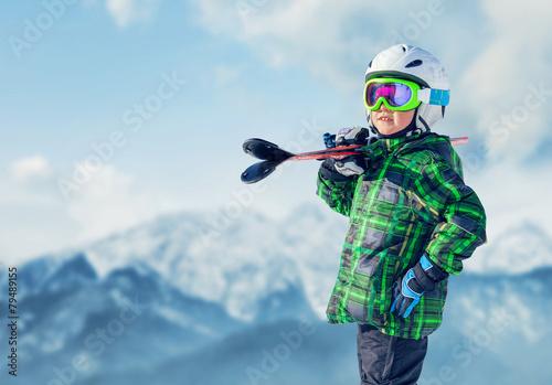 Fotografie, Obraz  Young skier in mountain