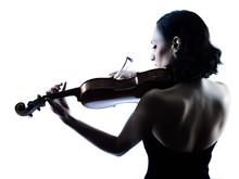 Violinist Woman Slihouette Iso...