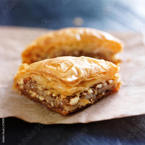 two pieces of baklava on wax paper Canvas Print