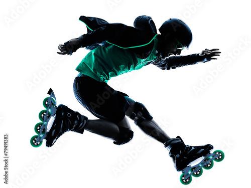Fotografia man Roller Skater inline  Roller Blading silhouette