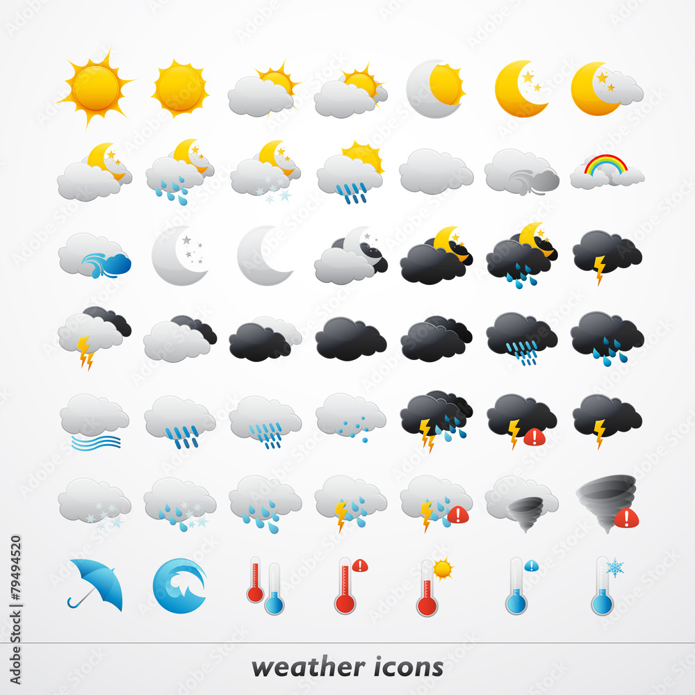 Fototapety, obrazy: Set of 49 high quality vector weather icons