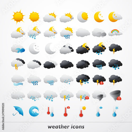Fototapeta Set of 49 high quality vector weather icons obraz
