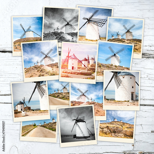 collage windmills Fotobehang