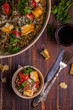 Stewed lentils with bacon, peppers and croutons