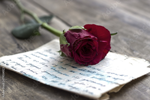 Love letter and rose Canvas