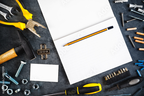Assorted do it yourself tools and notebook buy this stock photo assorted do it yourself tools and notebook solutioingenieria Images