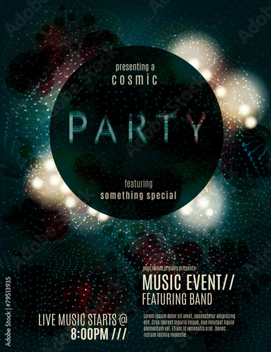 Fotografie, Obraz  Dark eclipse party invitation poster or flyer template