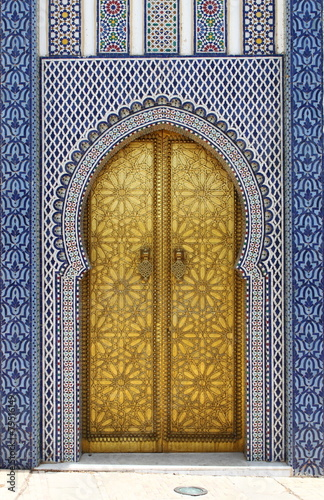 Papiers peints Maroc Golded door of Royal Palace in Fes, Morocco