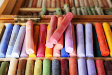 Colorful Chalk Pastels In Box ...