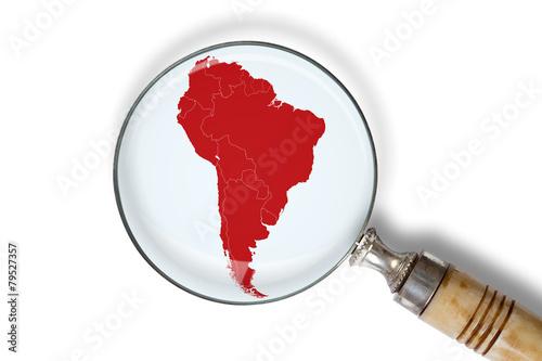 Fotografía  Cartina del Sud America sotto la lente