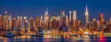 New York City Manhattan Skyline View At Night