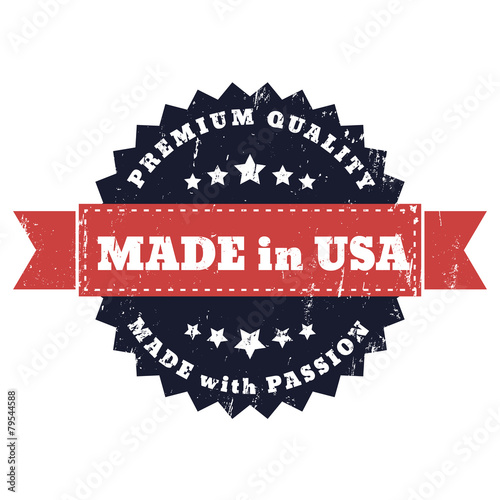 Made in USA, Made with Passion grunge sign vector, eps10 Poster