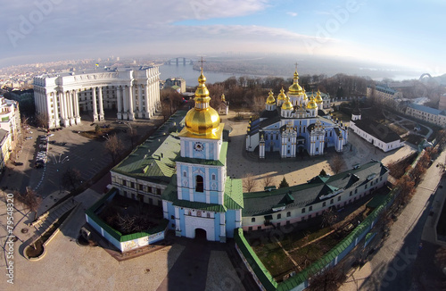 Spoed Foto op Canvas Kiev St. Michael's Golden-Domed Cathedral in Kiev, Ukraine, aerial vi