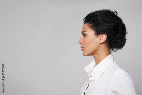Fototapeta Closeup profile of business woman looking forward obraz