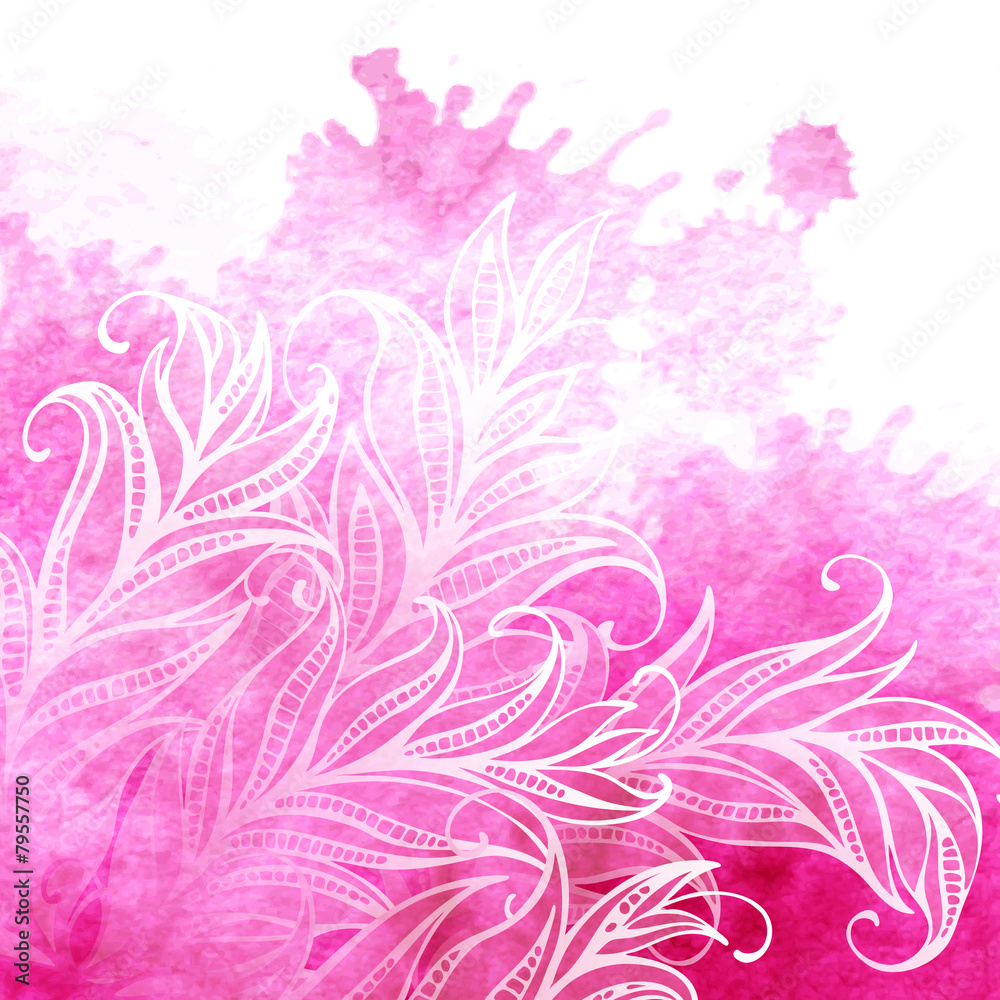 Vector watercolor background feathers and leaves