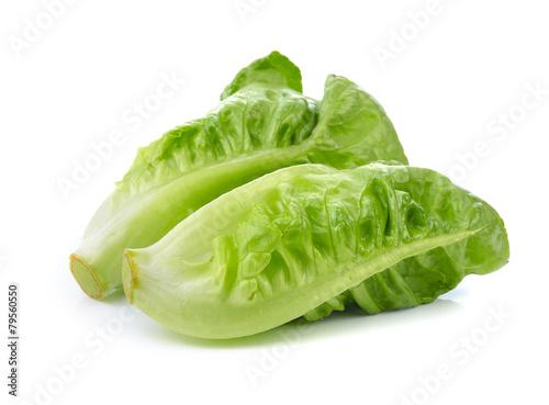 Fototapeta Fresh lettuce (baby cos) on white background