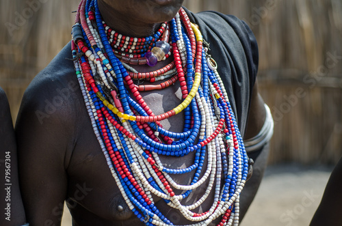 Close up of necklaces of Arbore tribe woman