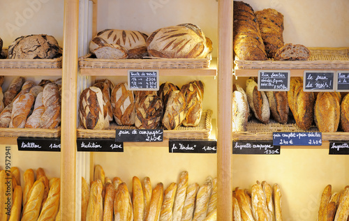 Staande foto Bakkerij Freshly baked breads in French bakery