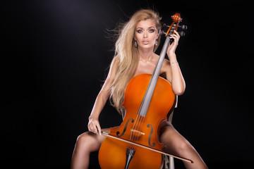 FototapetaSexy musician with cello.