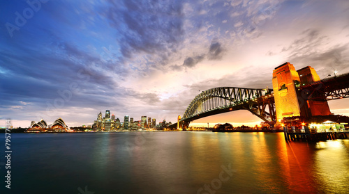 Staande foto Sydney Sydney Harbor Panorama at twilight