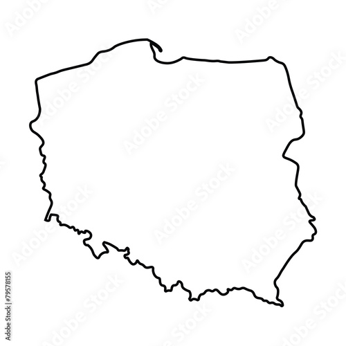 Fototapeta black abstract outline of Poland map obraz