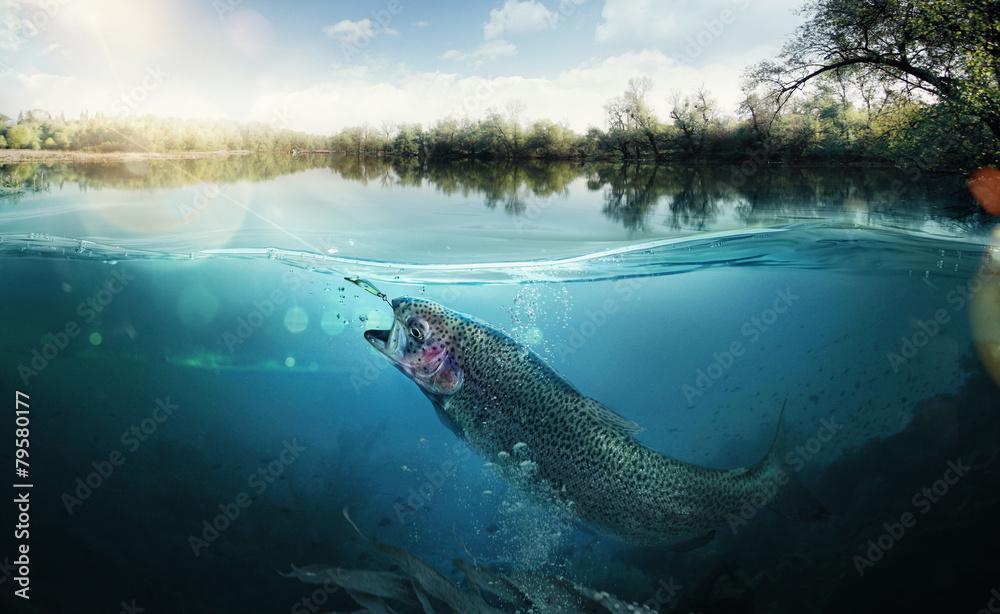 Fototapeta Fishing. Close-up shut of a fish hook under water