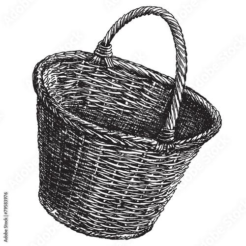 Fotografie, Obraz  wicker basket vector logo design template.  handicraft or