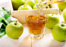Glass Of Apple Juice With Fresh Fruits