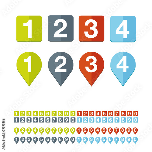 Fotografía  Number set vector flat design