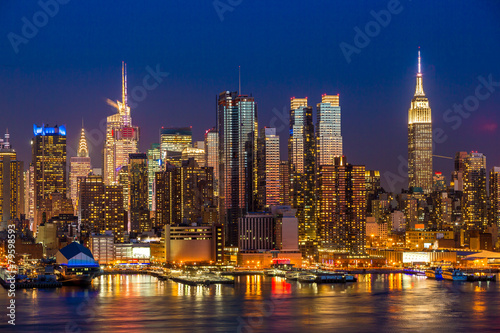 Fototapety, obrazy: New York City Manhattan midtown buildings skyline night