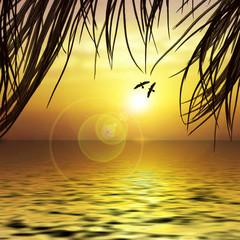Beautiful landscape with birds
