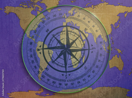 illustration of a compass, map of the world - Buy this stock vector