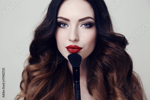 Foto auf AluDibond Friseur beautiful sexy woman with dark hair and bright makeup