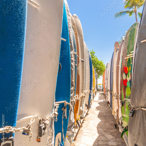 Surfboards at Waikiki Beach, Hawaii