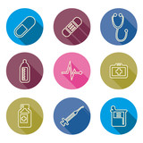 set of medical icons line Vector illustration
